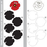 Find true correct shadow, the educational kid game. Funny Poppy Head with different shadows to find the correct one, compare and connect object with it true Royalty Free Stock Images