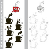Find true correct shadow, the educational kid game. Funny Red Coffee Cup with different shadows to find the correct one, compare and connect object with it true Stock Image