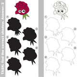 Find true correct shadow, the educational kid game. Funny Rose Face with different shadows to find the correct one, compare and connect object with it true Stock Photos