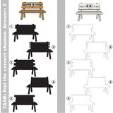 Find true correct shadow, the educational kid game. Funny Wooden Bench with different shadows to find the correct one, compare and connect object with it true Stock Photography
