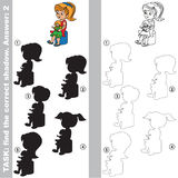 Find true correct shadow, the educational kid game. Girl with Doll with different shadows to find the correct one, compare and connect object with it true Stock Photo