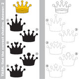Find true correct shadow, the educational kid game. Gold Crown with different shadows to find the correct one, compare and connect object with it true shadow Royalty Free Stock Photo