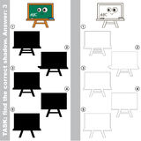 Find true correct shadow, the educational kid game. Green Board with different shadows to find the correct one, compare and connect object with it true shadow Royalty Free Stock Image
