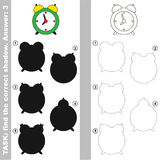Find true correct shadow, the educational kid game. Green Clock with different shadows to find the correct one, compare and connect object with it true shadow Royalty Free Stock Photography