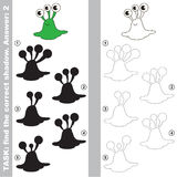 Find true correct shadow, the educational kid game. Green Slug Alien with different shadows to find the correct one, compare and connect object with it true Stock Photos