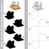 Find true correct shadow, the educational kid game. Many Books with different shadows to find the correct one, compare and connect object with it true shadow Stock Images