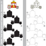 Find true correct shadow, the educational kid game. Red Princess Chariot with different shadows to find the correct one, compare and connect object with it true Stock Image