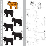 Find true correct shadow, the educational kid game. Rown Cow with different shadows to find the correct one, compare and connect object with it true shadow, the Stock Photo