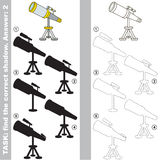 Find true correct shadow, the educational kid game. Telescope with different shadows to find the correct one, compare and connect object with it true shadow Stock Image