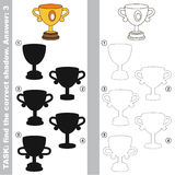 Find true correct shadow, the educational kid game. Trophy cup with different shadows to find the correct one, compare and connect object with it true shadow Stock Image