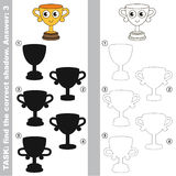 Find true correct shadow. Funny Winner Cup with different shadows to find the correct one. Compare and connect object with it true shadow. Easy educational kid Royalty Free Stock Photo