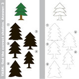 Find true correct shadow. Fur Tree with different shadows to find the correct one, compare and connect object with it true shadow, the educational kid game with Stock Image