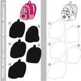 Find true correct shadow. Pink School Bag. with different shadows to find the correct one. Compare and connect object with it true shadow. Easy educational kid Stock Images
