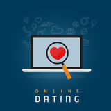 Find The True Love With Online Dating Abstract. Find girlfriend or boyfriend, with magnifying glass on the laptop Royalty Free Stock Image