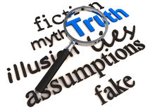 Find truth over lies and myth. Word truth standing out in blue color against lies, fiction, myth illusion assumptions etc Stock Images