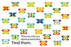 Find two identical butterflies, spring fun education puzzle game for children, preschool worksheet activity for kids, task for the stock illustration