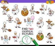 Find two identical chef characters game for kids Stock Photos