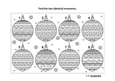 Find the two identical christmas ornaments visual puzzle and coloring page. Winter holidays, New Year or Christmas themed find the two identical ornaments visual Royalty Free Stock Images