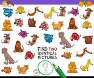 Find two identical dogs educational activity. Cartoon Illustration of Finding Two Identical Pictures Educational Activity Game for Children with Dog and Puppy Royalty Free Stock Images