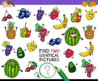Find two identical fruits game for kids Royalty Free Stock Photos
