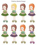 Find two identical girls. Educational game for children. Stock Photos