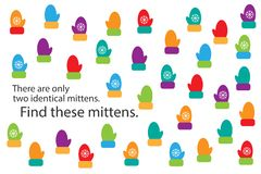Find two identical mittens, christmas fun education puzzle game for children, preschool worksheet activity for kids, task for the stock illustration