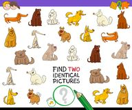 Find two identical pictures activity with dogs. Cartoon Illustration of Finding Two Identical Pictures Educational Activity Game for Children with Dog or Puppy Stock Images