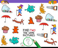 Find two identical pictures activity game. Cartoon Illustration of Finding Two The Same Pictures Educational Activity Game for Preschool Children Stock Photo
