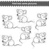 Find two identical pictures, education game for children, mice Stock Photos