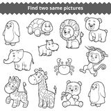 Find two identical pictures, education game for children, set of. Find two identical pictures, education game for children, vector set of zoo animals Royalty Free Stock Image
