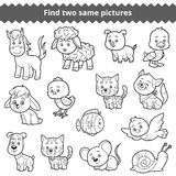 Find two identical pictures, education game, set of farm animals Stock Images