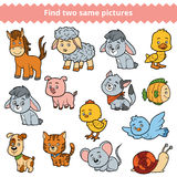 Find two identical pictures, education game, set of farm animals Royalty Free Stock Photos