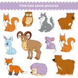 Find Two Identical Pictures, Education Game, Set Of Animals Stock Photo