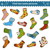 Find two identical pictures, education game, set of socks. Find two identical pictures, education game for children, vector set of socks Royalty Free Stock Photos
