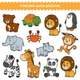 Find two identical pictures, education game, set of zoo animals. Find two identical pictures, education game for children, vector set of zoo animals Stock Images