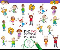 Find two identical pictures game for children. Cartoon Illustration of Finding Two Identical Pictures Educational Game for Kids with Boys and Girls Children Royalty Free Stock Image