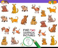 Find two identical pictures game with dogs Royalty Free Stock Image