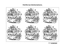 Find the two identical pictures with presents and teddy bear visual puzzle and coloring page. IQ training find the two identical pictures with presents and teddy Stock Images