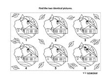 Find the two identical pictures with rural houses visual puzzle and coloring page Stock Photos