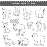 Find Two Identical Pictures, Set Of Forest Animals Stock Images