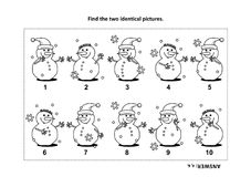 Find the two identical pictures with snowman visual puzzle and coloring page. IQ training find the two identical pictures with snowman visual puzzle and coloring Royalty Free Stock Photo