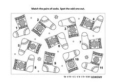 Visual logic puzzle and coloring page with knitted socks. IQ training visual logic puzzle and coloring page with Santa's (or somebody's else&#x29 Royalty Free Stock Photography
