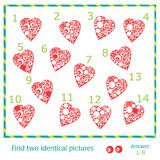 Find two identical pictures. Of vector hearts Stock Photography