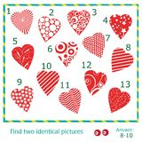Find two identical pictures. Of vector hearts Royalty Free Stock Images