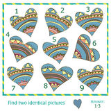 Find two identical pictures. Of vector hearts Royalty Free Stock Photo