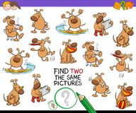 Find two the same cartoon dog pictures game. Cartoon Illustration of Finding Two Identical Pictures Educational Activity Game for Children with Funny Dog Royalty Free Stock Images