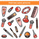 Find two same pictures. Beauty vector color set Stock Photos