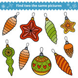 Find two the same pictures. Christmas tree toys. Find two the same pictures, education game for children. Christmas tree toys Royalty Free Stock Image