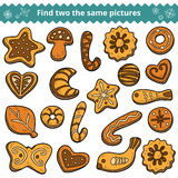 Find two the same pictures, cookies. Find two the same pictures, education game for children (cookies Royalty Free Stock Photos