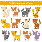 Find two the same pictures, game for children, cat. Find two the same pictures, education game for children, cat Royalty Free Stock Photos